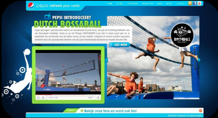 Bossaball on the Pepsi homepage