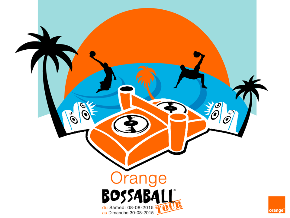 Orange and Bossaball beach branding poster