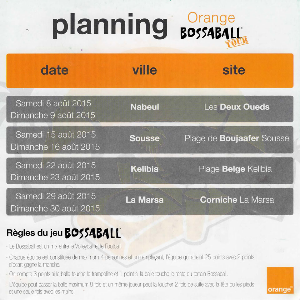Orange and Bossaball planning beach branding tour 2015