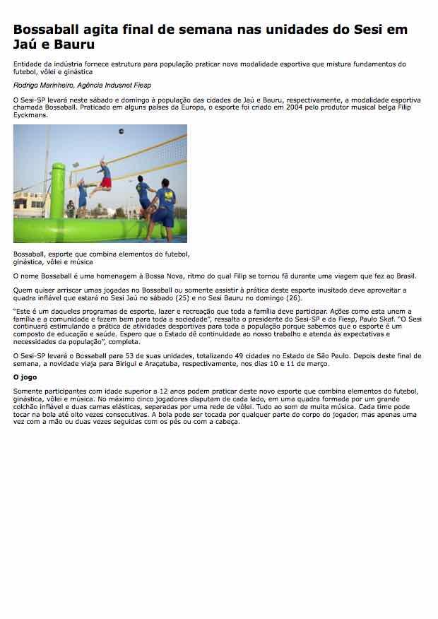 Bossaball agita final de semana nas unidades do Sesi em Jaú e Bauru - FIESP