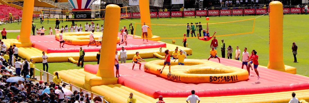 New school sport Bossaball presented in Colombia's national stadium