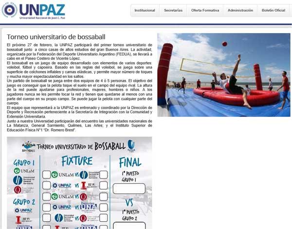 UNPAZ bossaball newsports gymnastics futbol voleibol torneo universitario