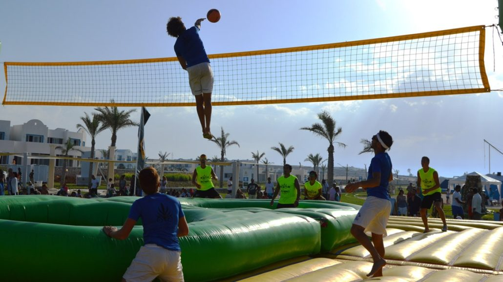 Bossaball Mountain View Egypt New sports Hybrid sports Volleyball Soccer Football Gymnastics Music Capoeira Bossa Nova