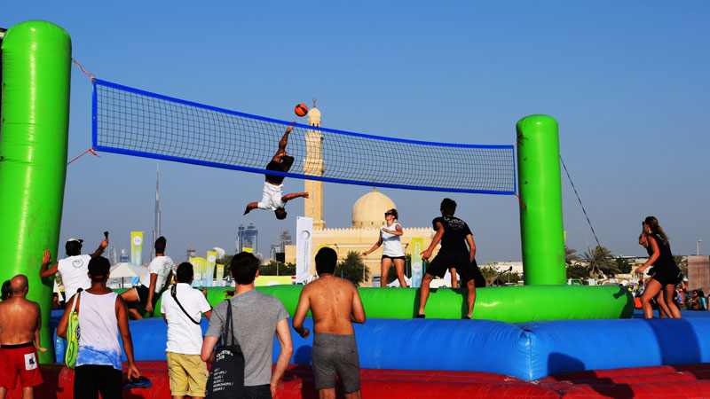 Fitness Challenge Activity Volleyball Soccer Football Bossaball New sports Dubai