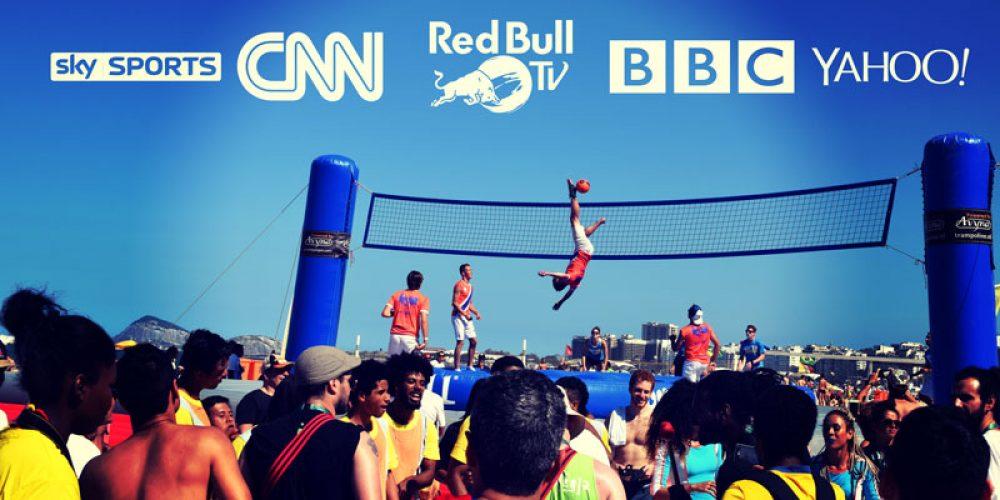 Novo esporte Bossaball nas plataformas globais mídia